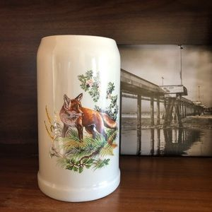 Vintage German Stein Cup Vase Vessel with Fox